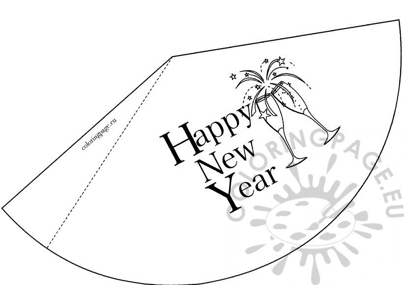 Happy New Year Party Hat – Coloring Page
