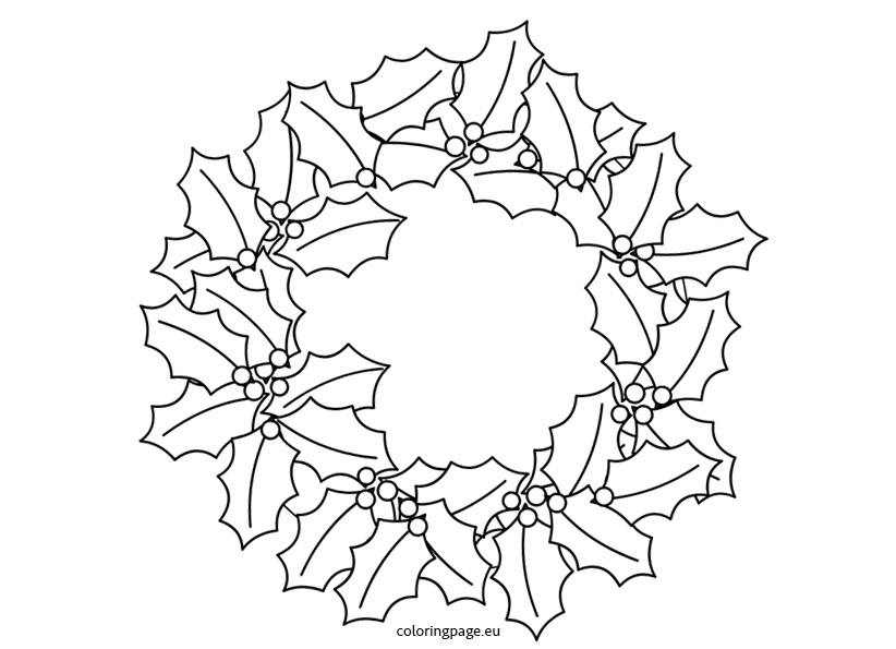Holly Wreath Coloring Page