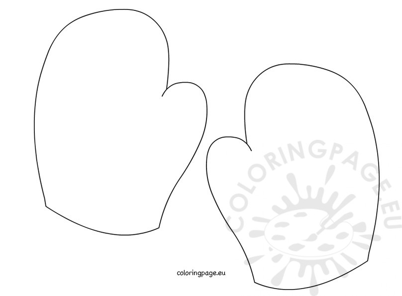 Mitten template Coloring Page