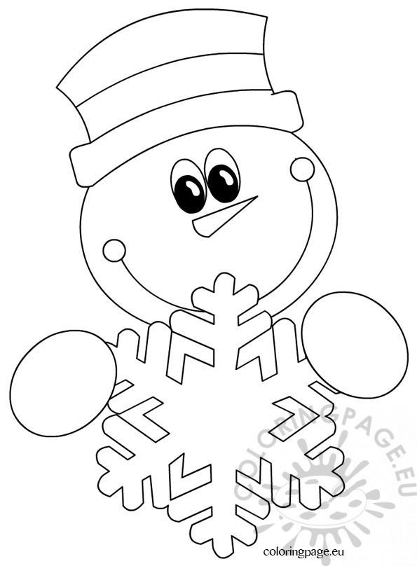 snowman  u2013 snowflake  u2013 coloring page