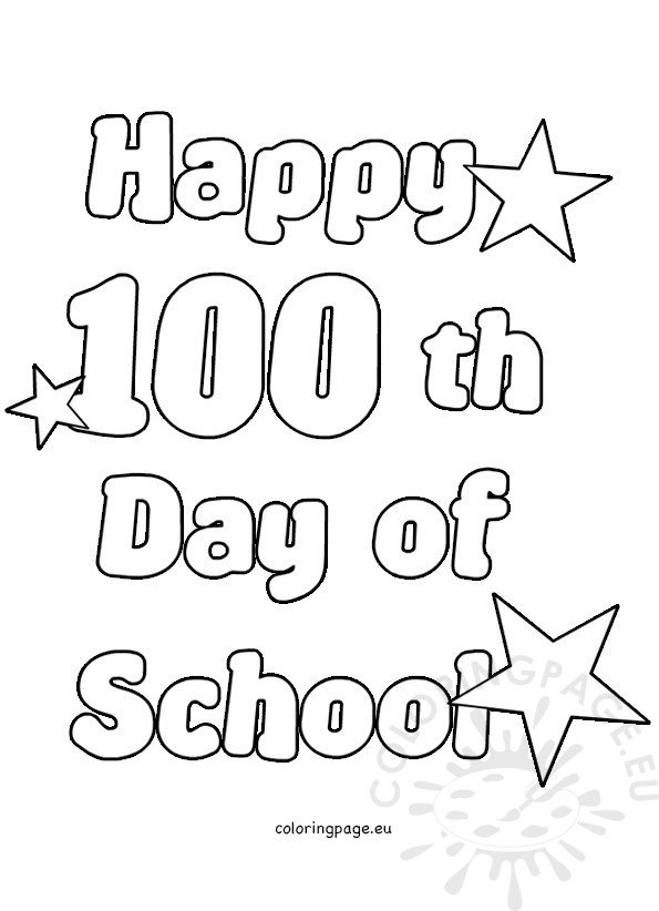 Happy 100th Day of School | Coloring Page
