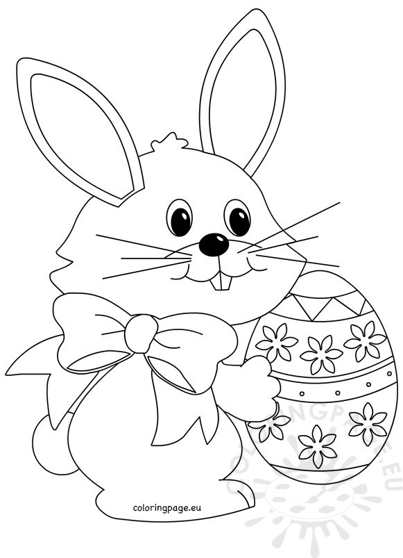 Easter Bunny Easter Egg Coloring Page