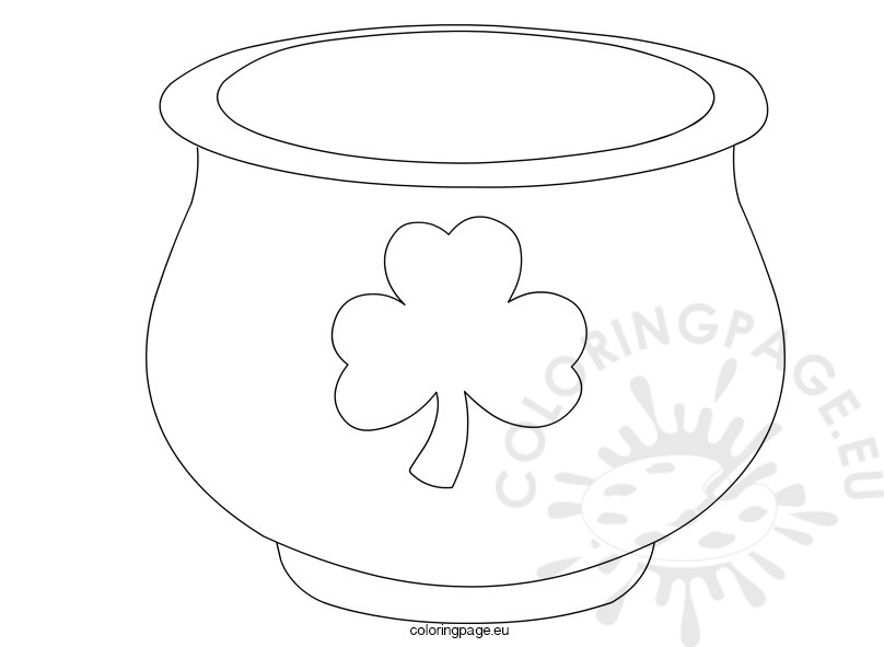 St Patrick S Day Pot Of Gold Template Coloring Page Pot Of Gold Coloring Page