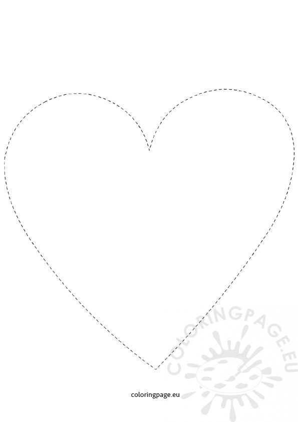 Free Printable Heart Tracing Coloring Page