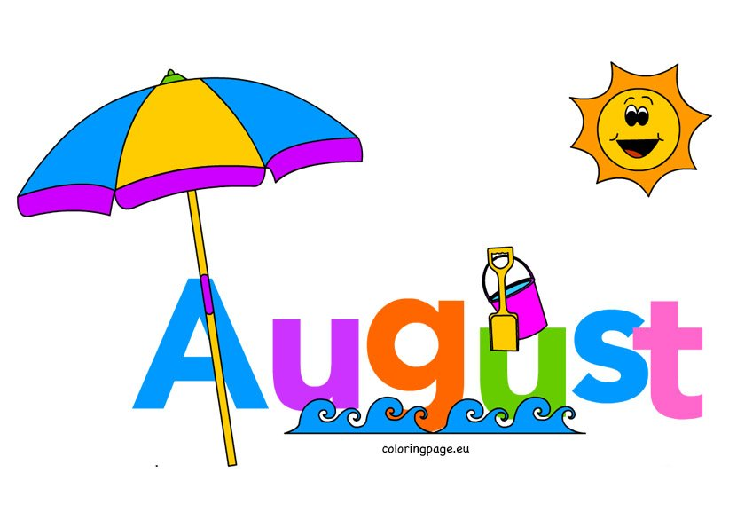 Month Of August Clip art | Coloring Page