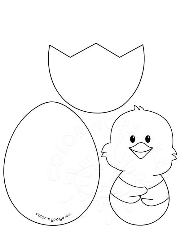 Easter Craft Patterns Chick And Egg Coloring Page