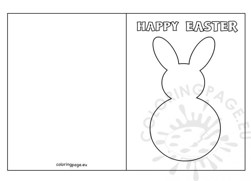 Easter Bunny Card Template  Coloring Page