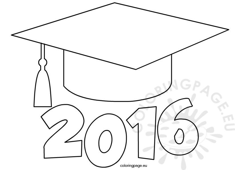Graduation cap 2016 for Cap coloring page