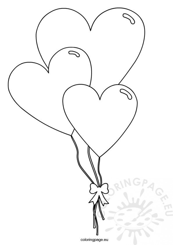 Valentines Day Heart Shaped Balloons Coloring Page