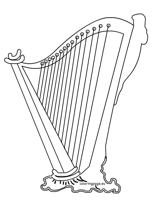 harp coloring page - irish harp clipart st patrick 39 s day coloring page