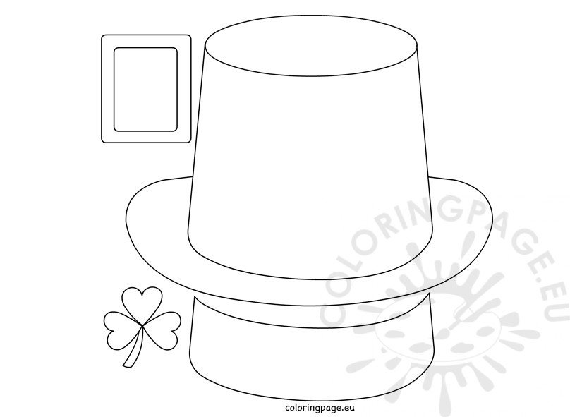 Leprechaun hat paper craft coloring page for Leprechaun hat template printable
