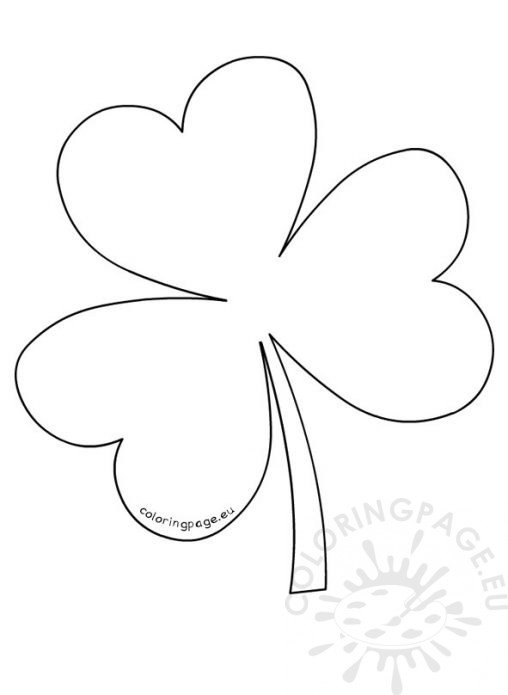 shamrock color pages - large printable clover stencil related keywords large