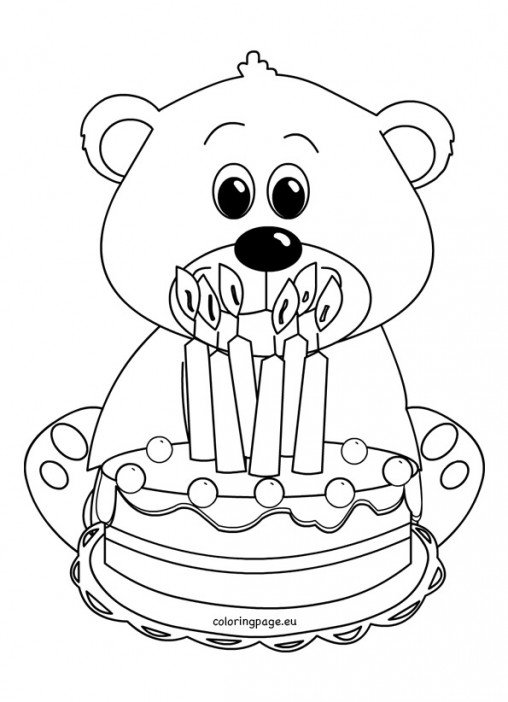 care bears coloring pages birthday bear beanie   Happy Birthday Teddy Bear Coloring Page