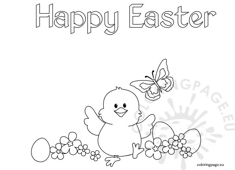 Chick Happy Easter coloring page