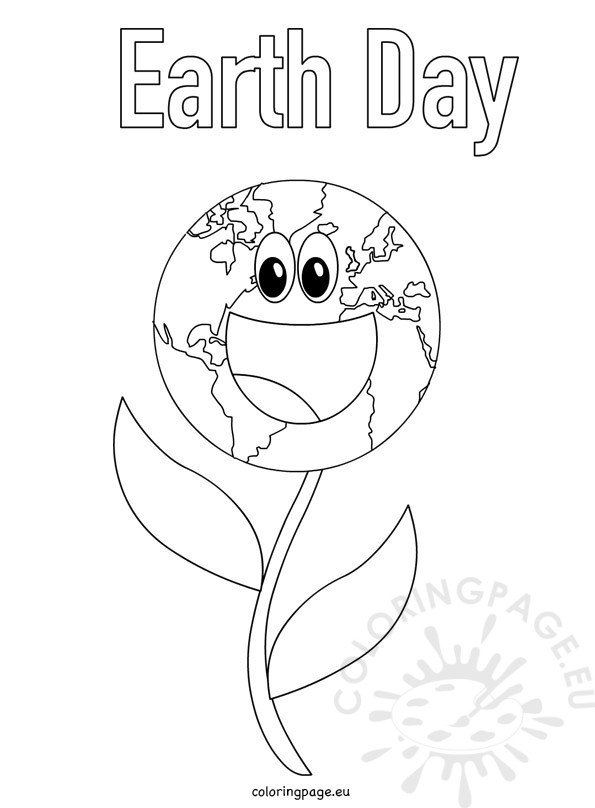 Earth Day flower coloring page for kids