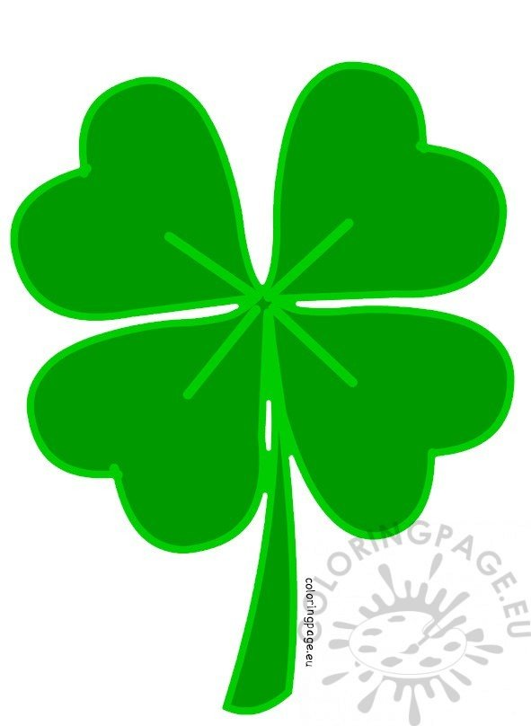 Green Four Leaf Clover Coloring Page