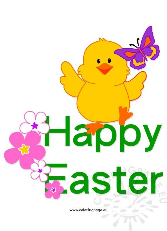 Happy Easter Chick Clip Art Coloring Page