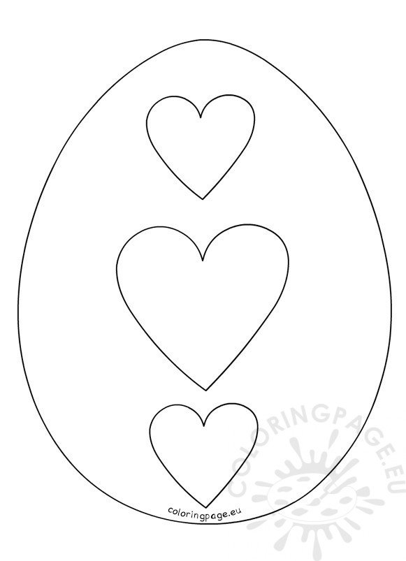 Hearts Easter Egg outline