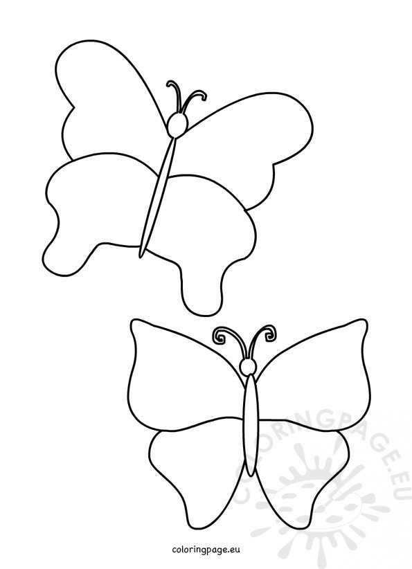 Simple Butterfly Template - Coloring Page