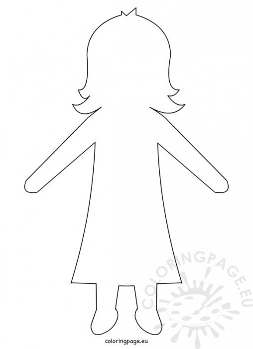 Coloring page for Large paper doll template