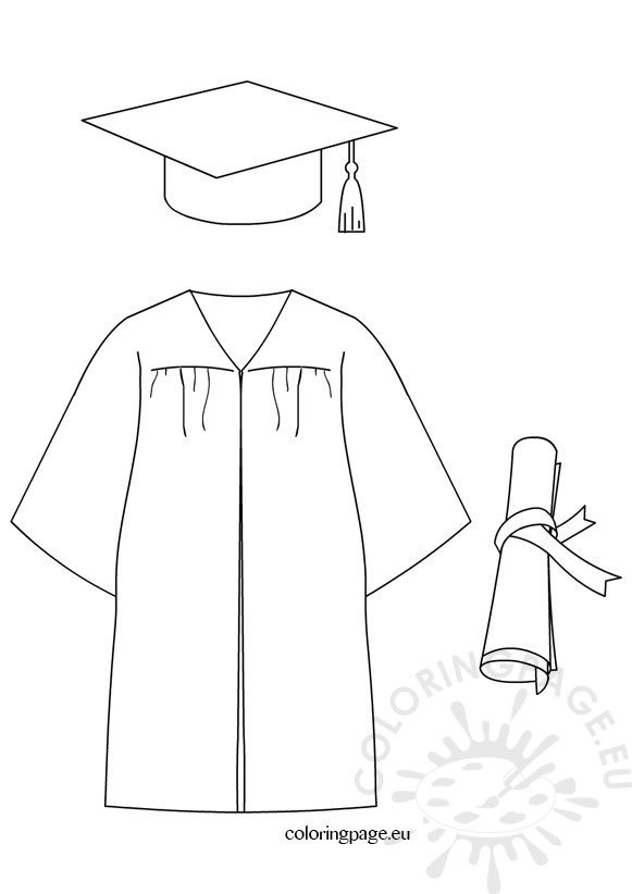 Graduation cap diploma gown dress coloring page for Graduation cap and diploma coloring pages