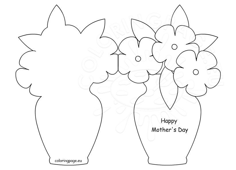 Happy MotherS Day Card Template  Coloring Page