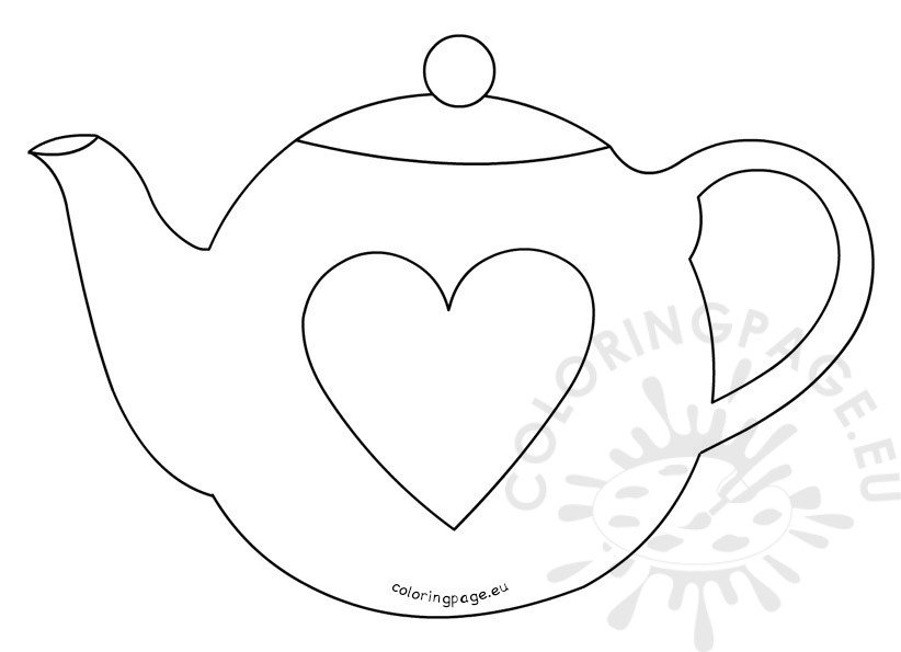 Mother S Day Teapot Card Template Coloring Page