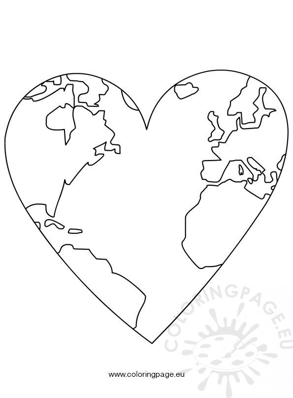 Earth Day - World Map In Heart
