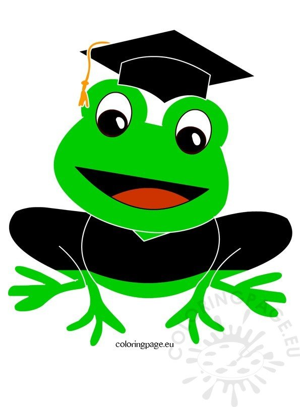Frog cap and gown clip art
