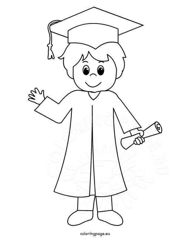 Cartoon Smiling Graduation Boy Coloring Page