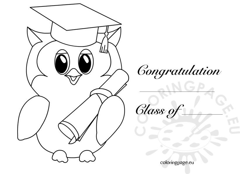 Kindergarten Graduation Owl 2 Coloring Page Graduation Coloring Pages