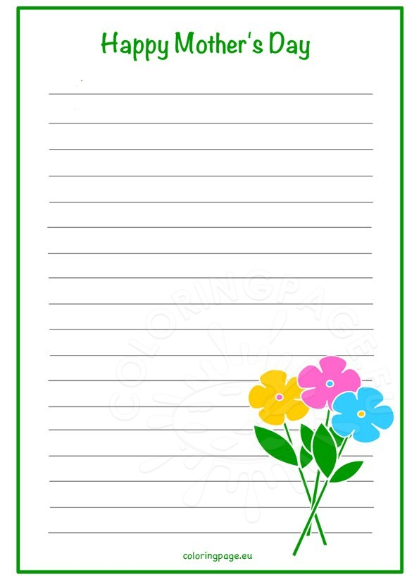 Mother's Day Writing Paper - Flowers