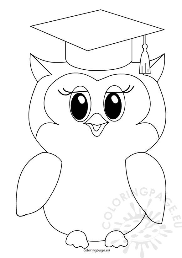 Cute owl graduation Coloring Page