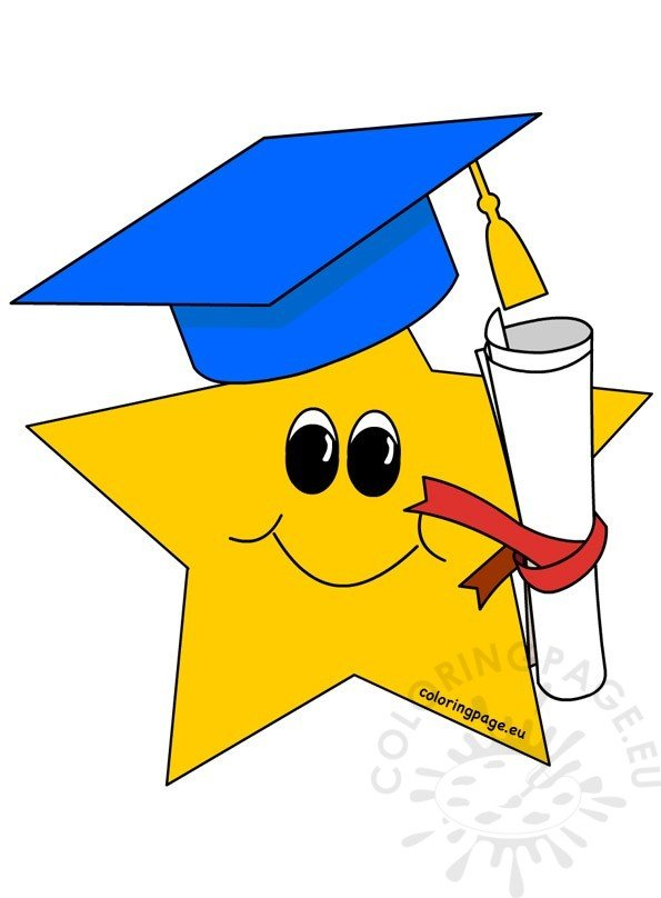 Yellow Star With Graduation Hat