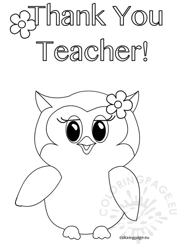Thank you teacher owl coloring page coloring page for Coloring pages of teachers