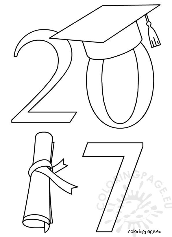 2017 graduate clip art coloring page G Is for Graduation  Coloring Graduation Cap