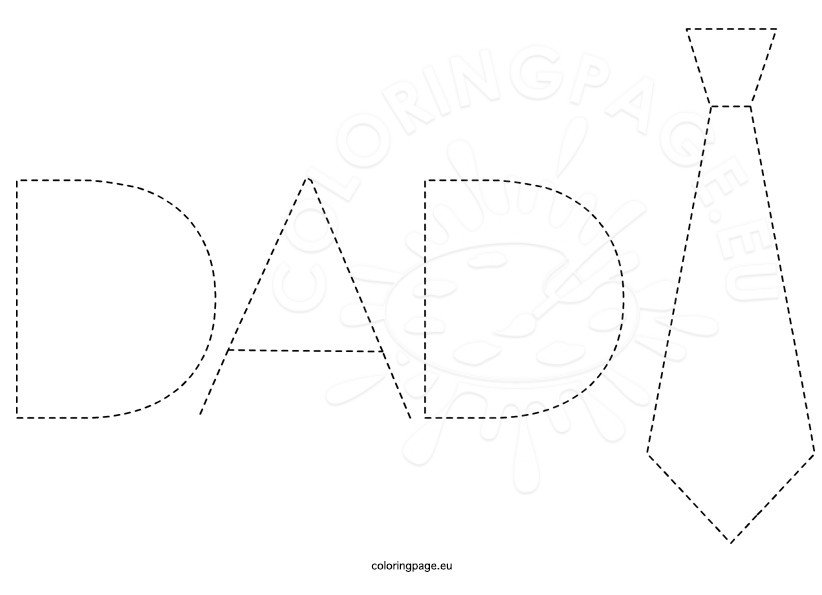 Dad Traceable Words Sheet