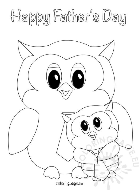 father u2019s day owls design  u2013 coloring page