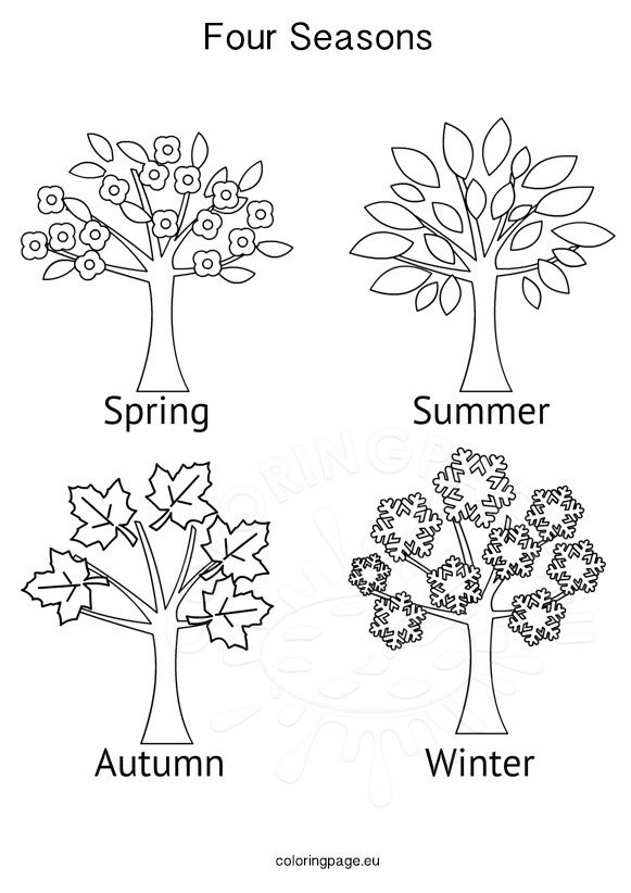 seasons activities four seasons tree coloring page. Black Bedroom Furniture Sets. Home Design Ideas