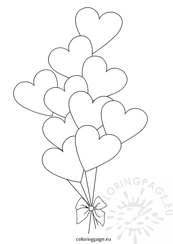 Heart Balloons Template | Coloring Page