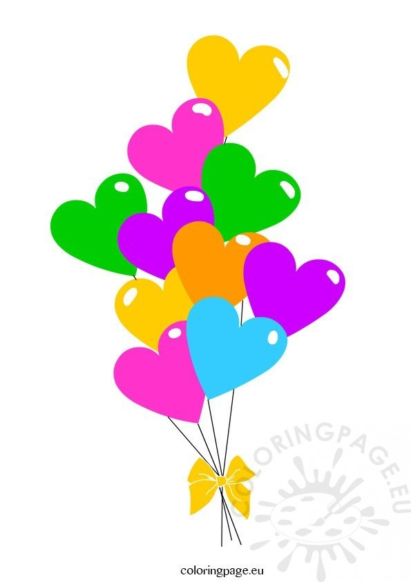 Heart Balloons clipart – Coloring Page