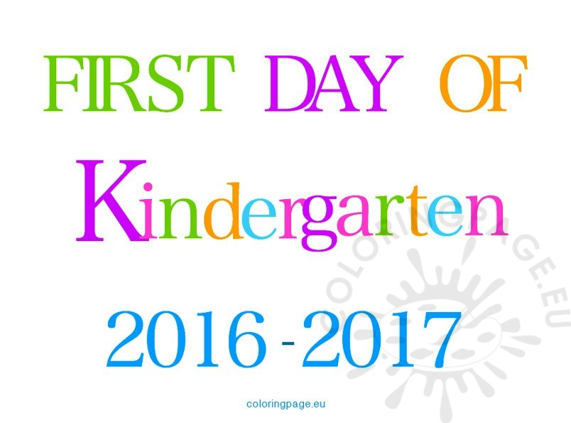 First day kindergarten 2016-2017