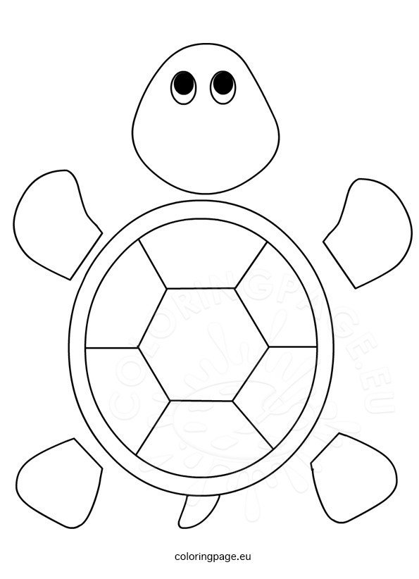 Turtle template for preschool - Coloring Page