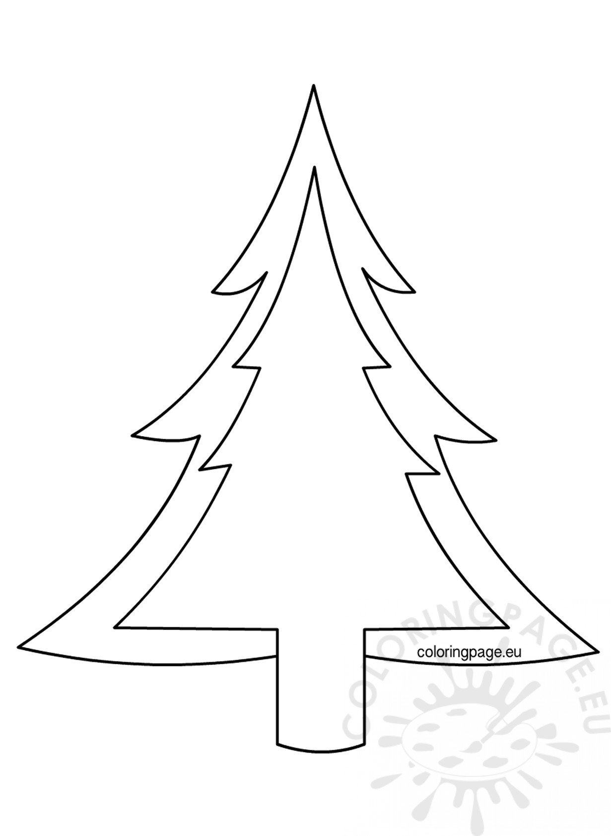 christmas tree outline pattern  u2013 coloring page