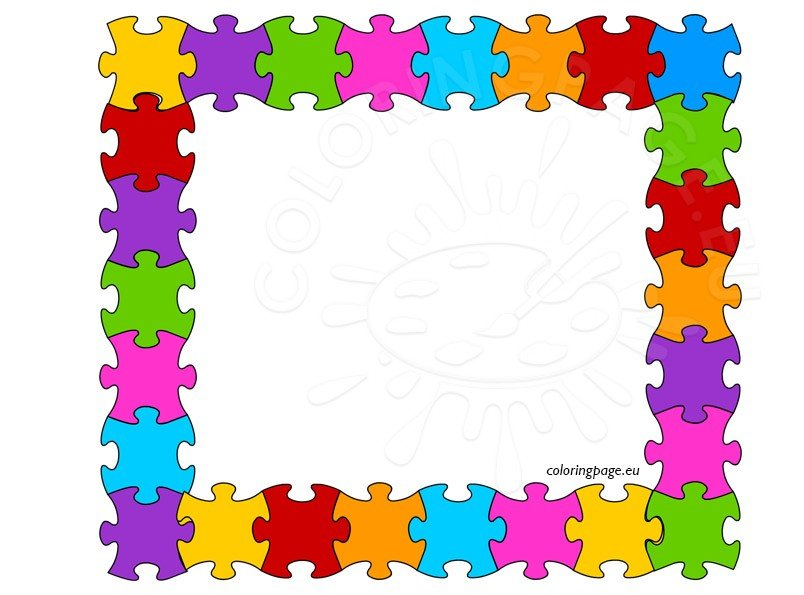 Colored puzzle frame