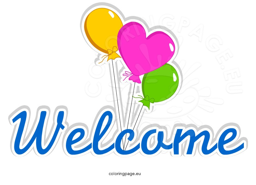 Colorful Welcome word with balloons