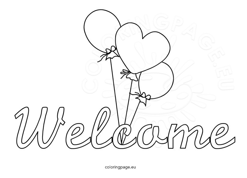 Welcome word with balloons
