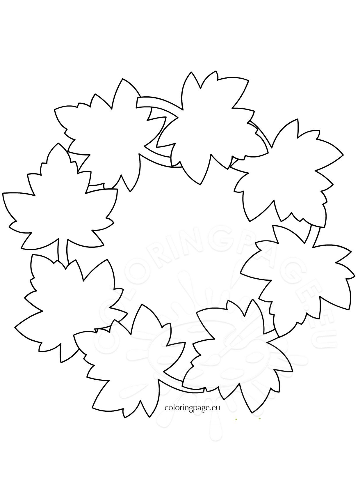 fall leaf wreat template coloring page
