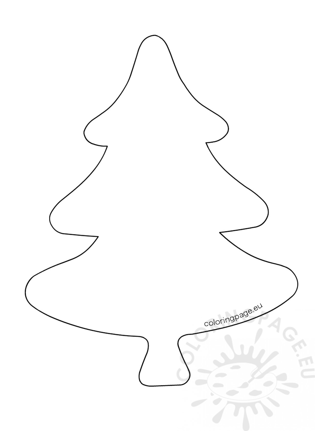 Felt Christmas Tree Ornament Template - Coloring Page