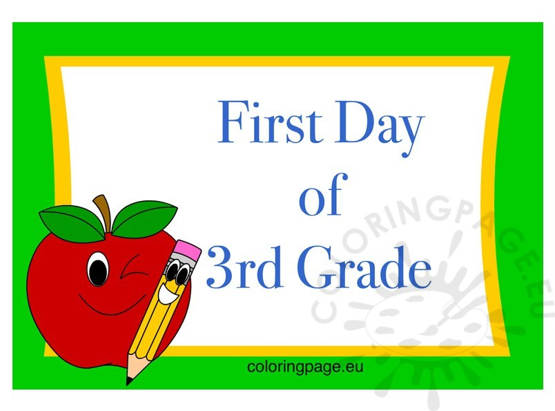 Printable Sign First Day of 3rd Grade